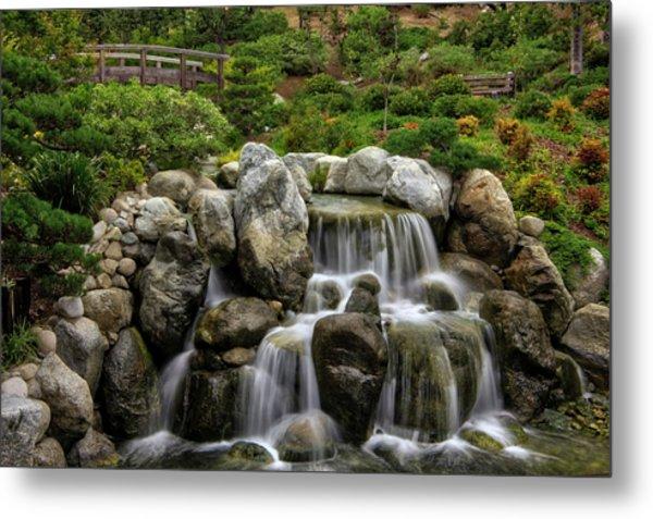 Japanese Garden Waterfalls Metal Print