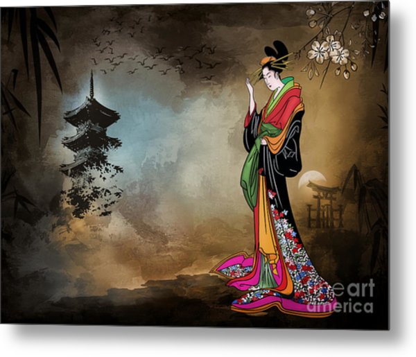 Japanese Girl With A Landscape In The Background. Metal Print