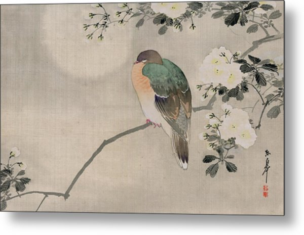 Japanese Silk Painting Of A Wood Pigeon Metal Print