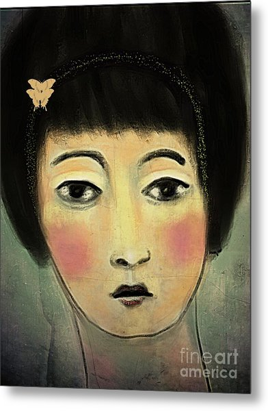Japanese Woman With Butterflies Metal Print