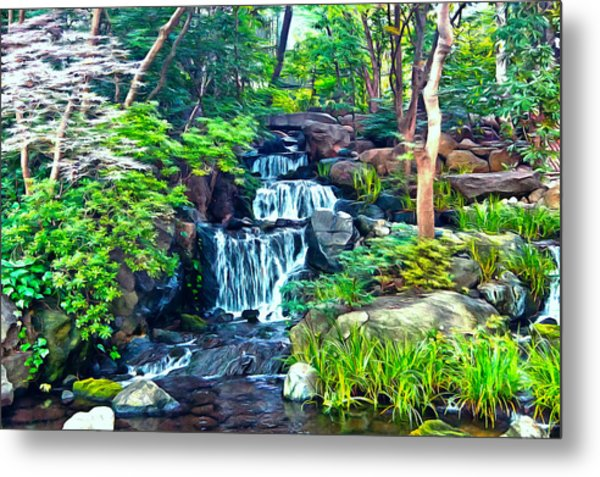 Japanese Waterfall Garden Metal Print