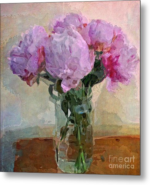 Jar Of Peonies Metal Print