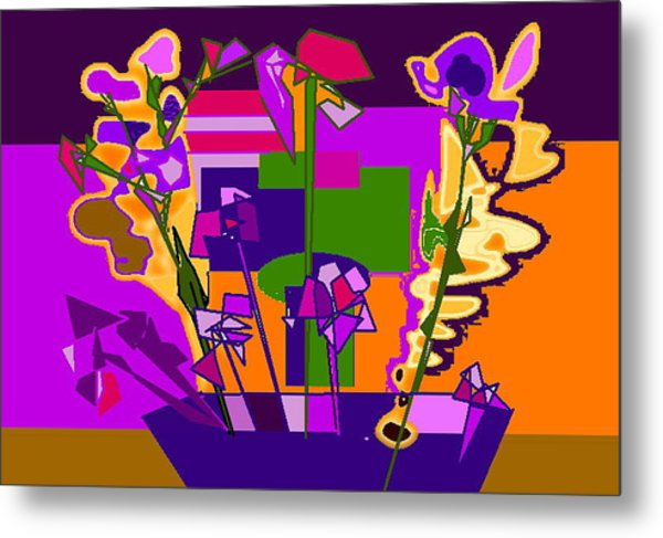 Jaune Mauve V Metal Print by Therese AbouNader
