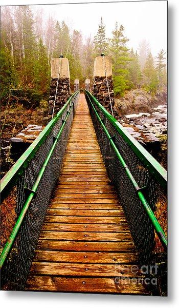 Jay Cooke Swinging Bridge In Fog Metal Print
