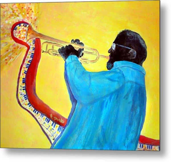 Jazzy Trumpet Player Metal Print