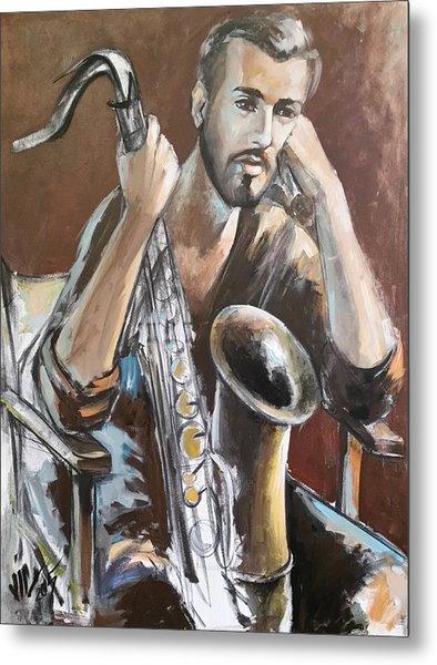 Jazz.saxophone Player Painting  Metal Print