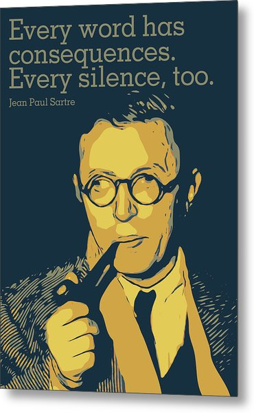 Jean Paul Sartre Metal Print