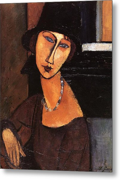 Jeanne Hebuterne With Hat And Necklace Metal Print