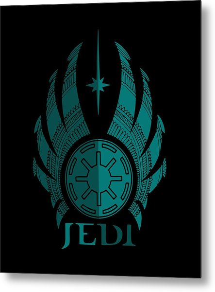 Jedi Symbol - Star Wars Art, Blue Metal Print