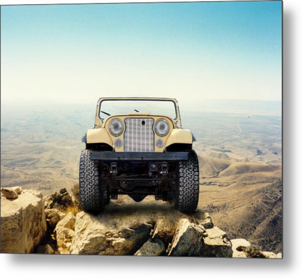 Jeep On Mountain Metal Print
