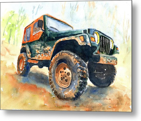 Jeep Wrangler Watercolor Metal Print