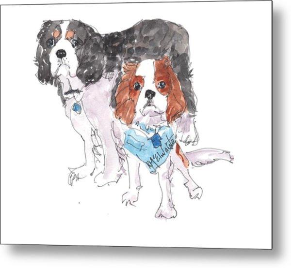 Jeffs Dogs Watercolor Kmcelwaine  Metal Print
