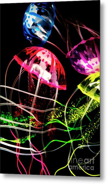 Jelly Fish Trails Metal Print