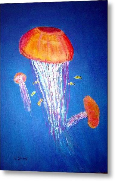 Jellyfish Flow Metal Print