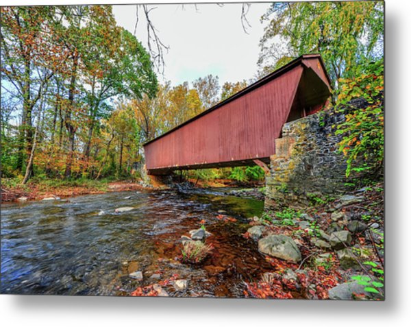 Jericho Covered Bridge In Maryland During Autumn Metal Print