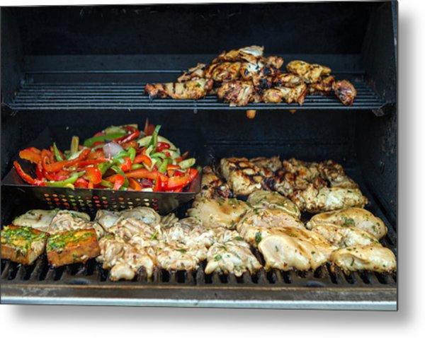 Jerk Chicken With Veggies On Grill Metal Print by Toni Thomas
