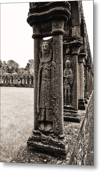 Metal Print featuring the photograph Jerpoint Abbey Cloister Stone Figures by Menega Sabidussi