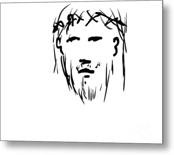 Jesus Christ Head Metal Print