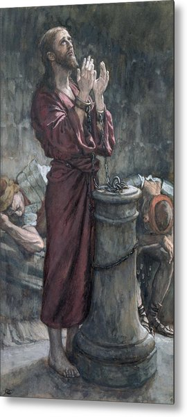 Jesus In Prison Metal Print