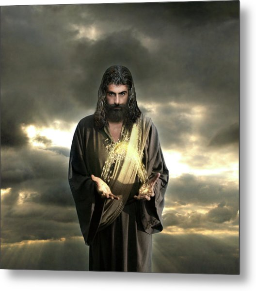 Jesus In The Clouds With Radiant Power Metal Print