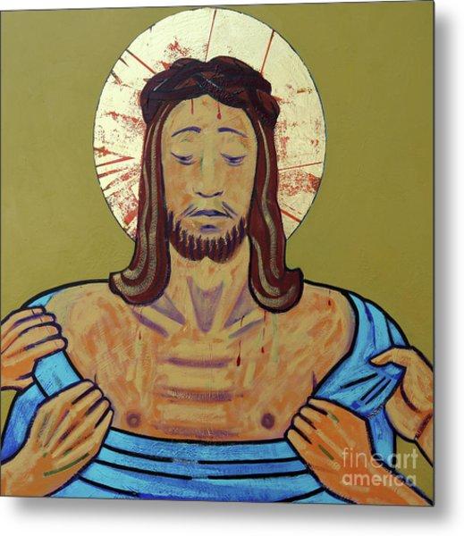 Jesus Is Stripped Metal Print