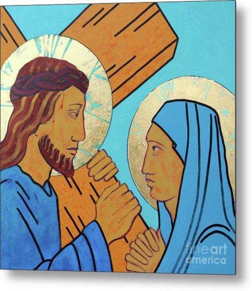 Jesus Meets His Mother Metal Print