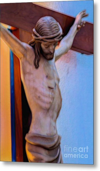 Jesus On The Cross Metal Print