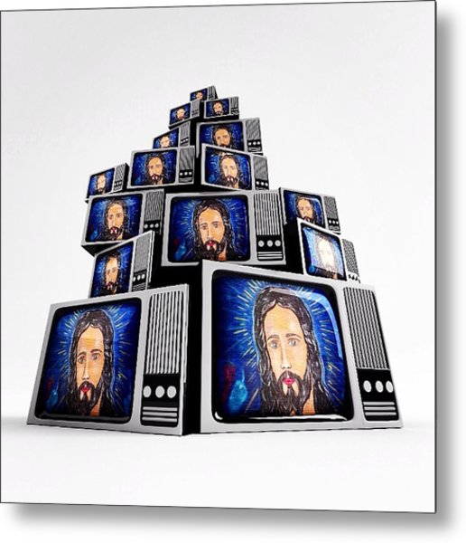 Jesus On Tv Metal Print