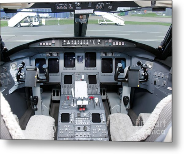 Jet Airplane Cockpit Metal Print