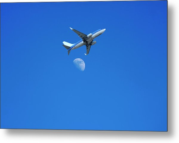 Jet Plane Flying Over The Moon Metal Print