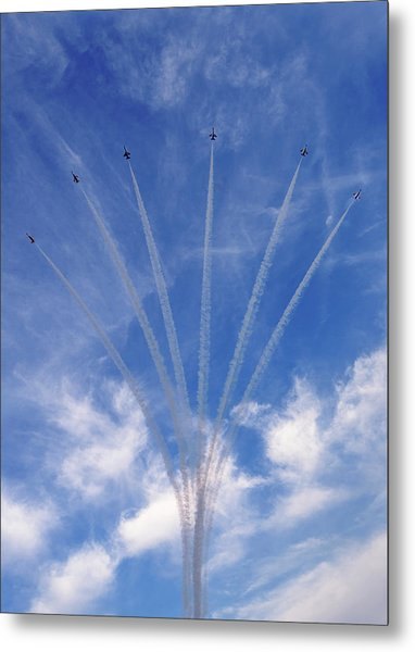 Metal Print featuring the photograph Jet Planes Formation In Sky by Pradeep Raja Prints