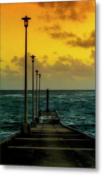 Jetty At Sunrise Metal Print
