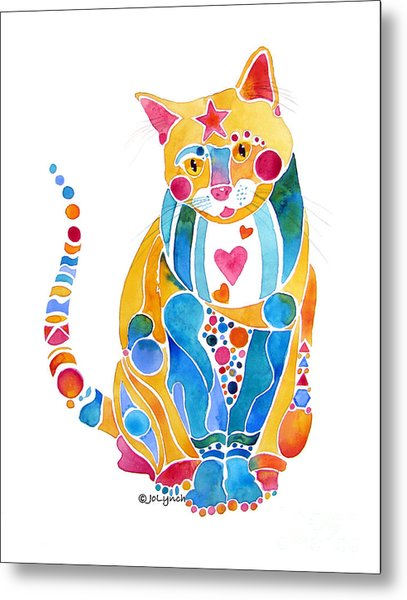 Jewel Colors Cat With Hearts N Stars Metal Print