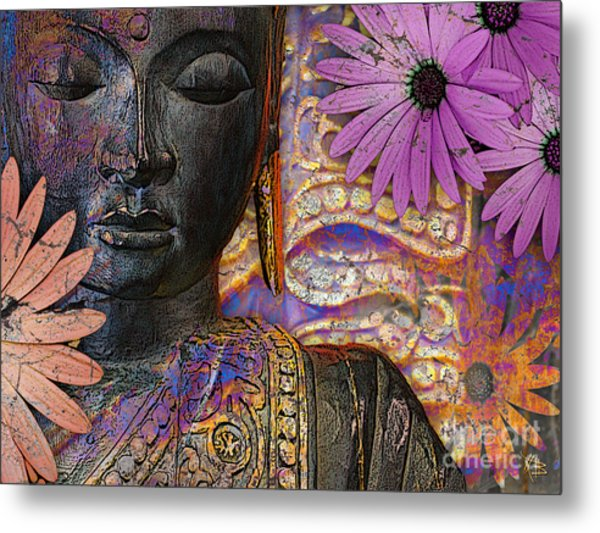 Jewels Of Wisdom - Buddha Floral Artwork Metal Print