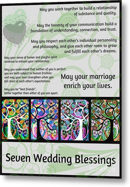 Jewish Seven Wedding Blessings Tree Of Life Hamsas Metal Print