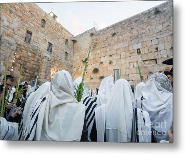 Jewish Sunrise Prayers At The Western Wall, Israel 10 Metal Print