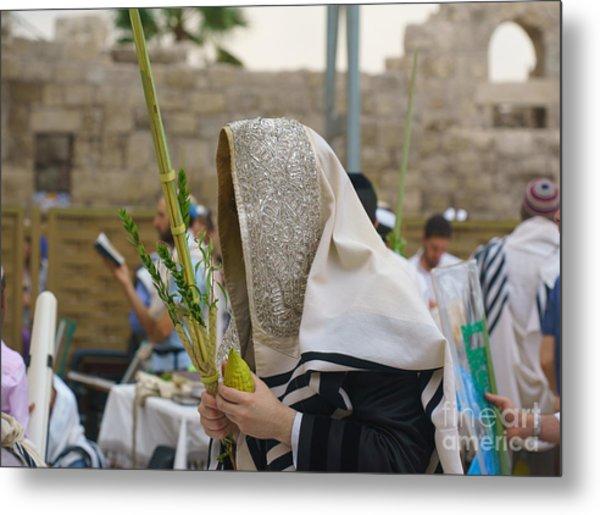 Jewish Sunrise Prayers At The Western Wall, Israel 7 Metal Print