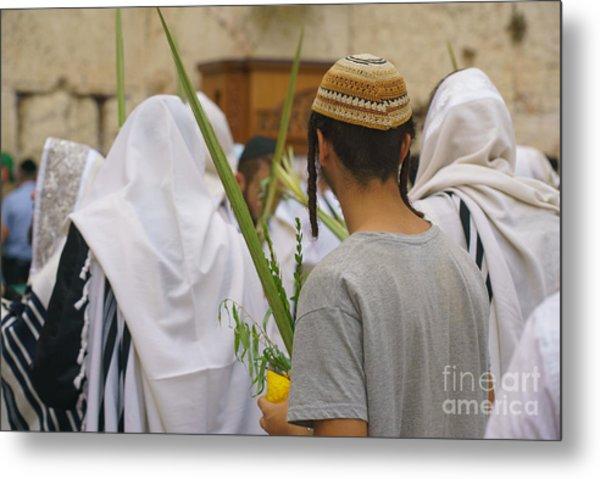 Jewish Sunrise Prayers At The Western Wall, Israel 8 Metal Print