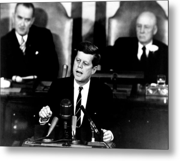 Jfk Announces Moon Landing Mission Metal Print