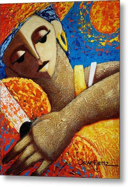 Metal Print featuring the painting Jibara Y Sol by Oscar Ortiz