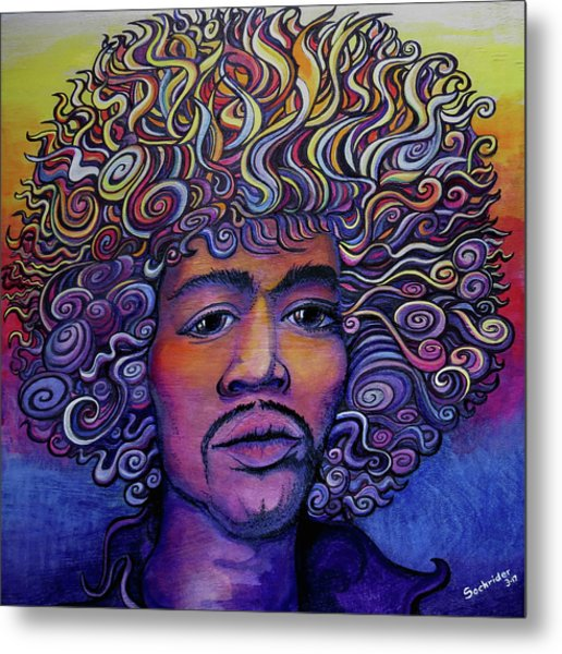 Jimi Hendrix Groove Metal Print by David Sockrider