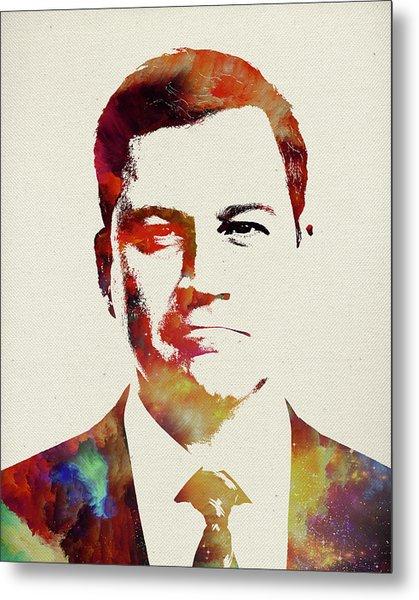Jimmy Kimmel Watercolor Portrait Metal Print