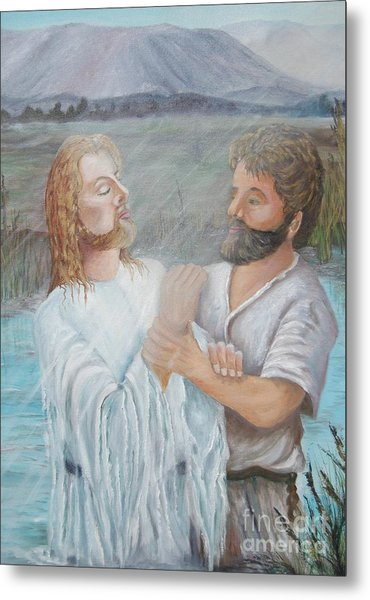 John Baptizing Jesus Metal Print by Janna Columbus