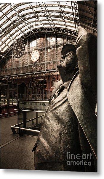 John Betjeman And Dent Clockat St Pancras Railway Station Metal Print