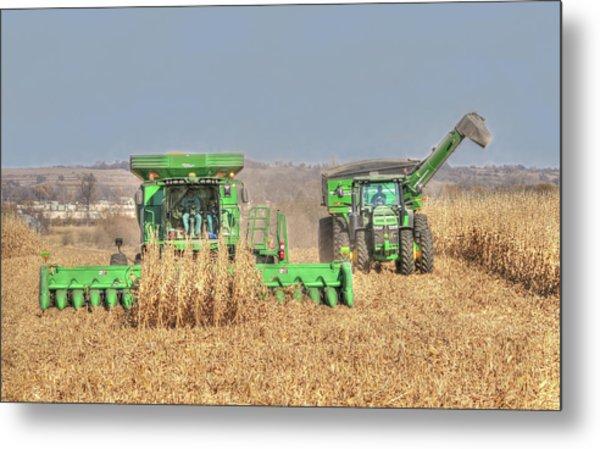 John Deere Combine Picking Corn Followed By Tractor And Grain Cart Metal Print