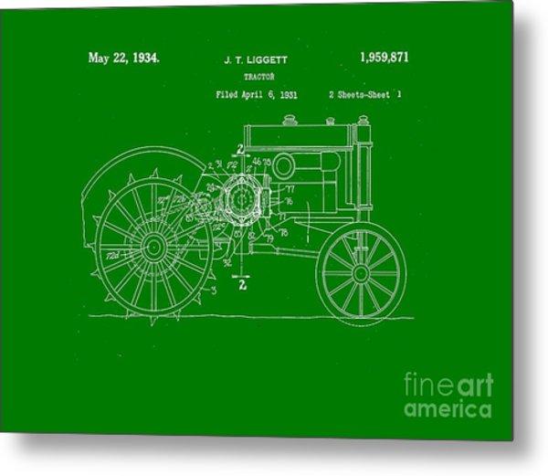 John Deere Tractor Patent Tee Metal Print