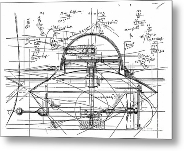 John Ericsson's Sketch For Turret Ship, 1890 Metal Print