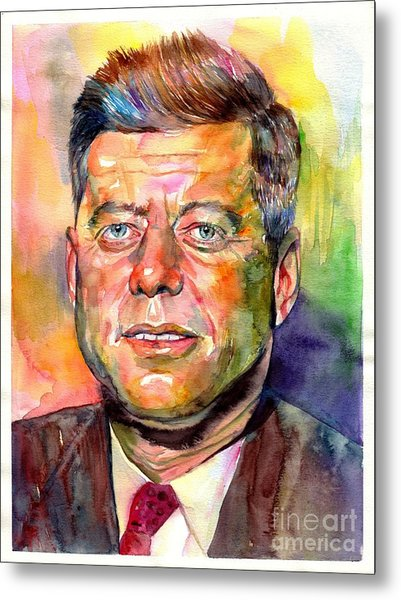 John F. Kennedy Watercolor Metal Print