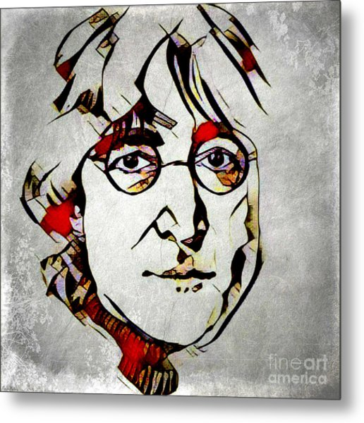 Metal Print featuring the mixed media John Lennon by Lita Kelley