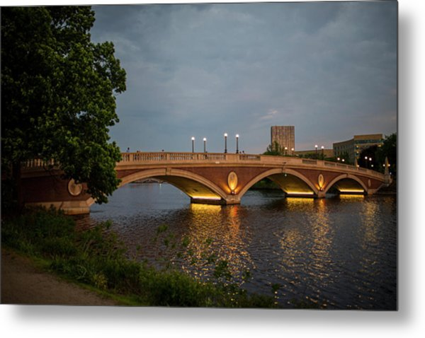 John Weeks Bridge Harvard Square Chales River Sunset Trees 2 Metal Print